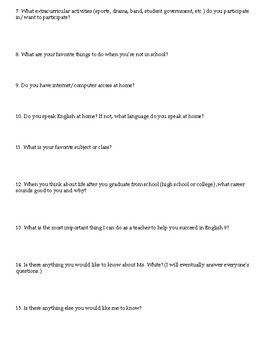 English Language Arts Student Introduction Handout