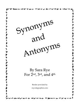 Synonyms and Antonyms Packet