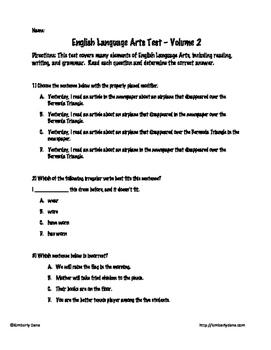 English Language Arts Test Bundle