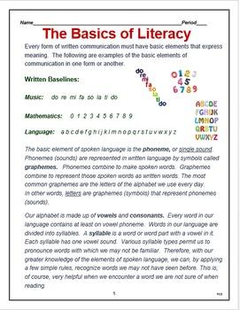 "English - Language Arts  - ""The Basics of Literacy"""