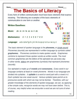 "English - Language Arts  - ""The Basics of Literacy"""