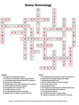 English Language Arts Vocabulary Crossword Puzzles