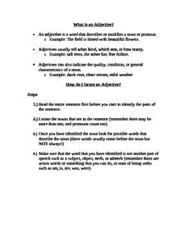 English Language Arts What Is An Adjective Parts of Speech Handout ESL ELD EFL