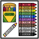 Crayons in English / Colors in English (High Resolution)
