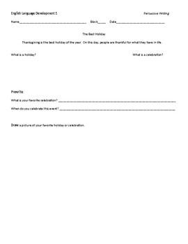 English Language Development- Holiday Writing Packet