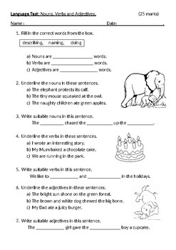 English Language/Grammar Test: Nouns, Verbs and Adjectives
