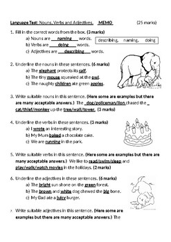 English Language/Grammar Test:  Nouns, Verbs and Adjectives.