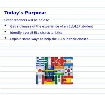 English Language Learner Staff PD Presentation (editable)