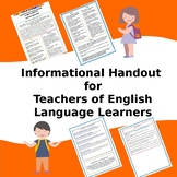 English Language Learners - What Teachers Need to Know - Tips for Teachers