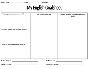 English Language Objectives Goalsheet