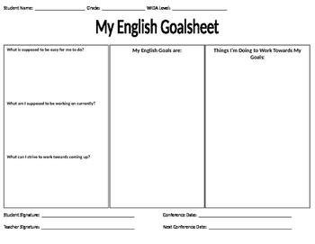 English Language Objectives Goalsheet