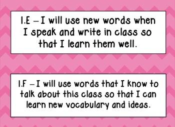 English Language Proficiency Standards (ELPS), Pink Chevron, Kid Friendly