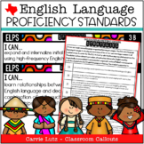 English Language Proficiency Standards -  Texas ELPS Cards with Checklists