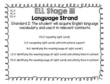 English Language Proficiency Vocabulary Standards