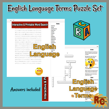 English Language Terms Interactive Word Search & Crossword Bundle