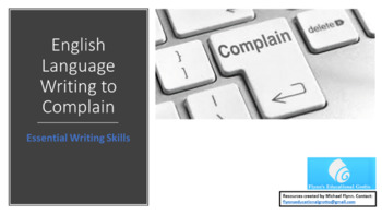 English Language: Writing to Complain