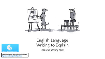 English Language: Writing to Explain
