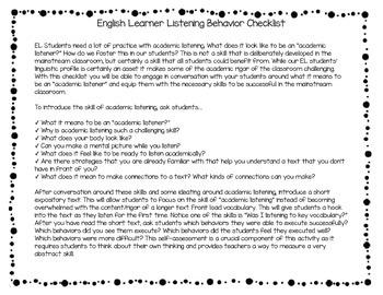 English Learner Listening Behavior Checklist