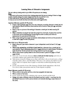 English Learning Menu/Alternative Assignments/Make-Up Work List