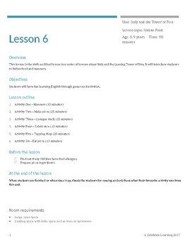 English Lesson 6: learn about Italy through games and activities