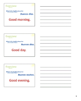 English Lesson - Greetings and Introductions (Esp) handout