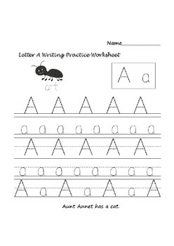 English Letters Writing practice Worksheets A-Z