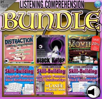 Listening Lessons (BUNDLED)-Fiction/Non-Fiction, Lesson Plans, Tasks, & Audio