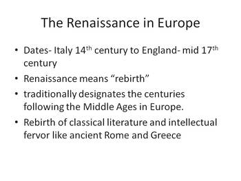 English Lit: Renaissance Historical Introduction and quiz