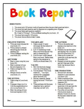 Book Report Options Differentiated Instruction