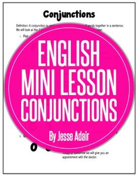 English Literacy Mini Lesson: Conjuctions Fanboys