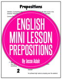 English Literacy Mini Lesson: Prepositions Rules and Lesson Ideas