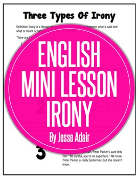 English Literacy Mini Lesson: Three Types of Irony