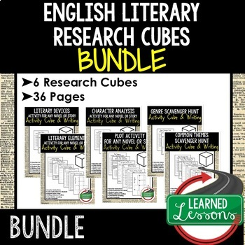 English Literary Research Cubes Bundle with Writing (English Activity Bundle)