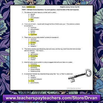 English Literary Terms Tests (Two Versions) with Answer Keys (EASY TO MARK)