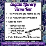 English Literary Terms Tests (Two Versions) with Answer Ke