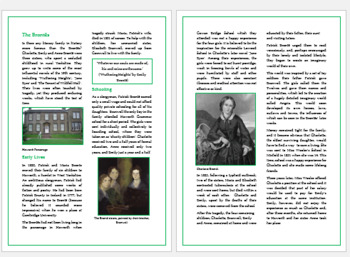 English Literature- Bronte Sisters Reading Comprehension