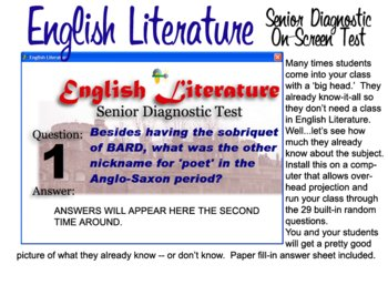 English Literature Diagnostic Test