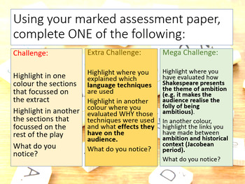 English Literature Revision - Macbeth Assessment Feedback