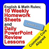 Set 1, English & Math Rules; Weekly Homework Sheets & Powe