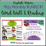 English May Bundle 1 : May Word Wall Cards and Comprehensible Input Reading