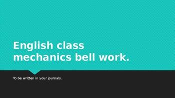 English Mechanics / Grammar / Usage Bellwork Powerpoint ENL ELL