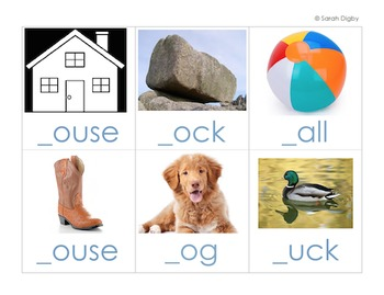 English Missing Letter Literacy Centers and/or Worksheets – Set of 5