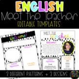 English Modern Meet the Teacher Template - EDITABLE