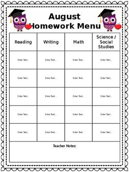 English Monthly Homework Menu