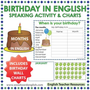 English Months - Birthday Speaking Activity and Charts