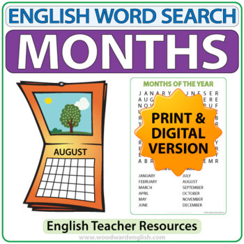 English Months - ESL Word Search