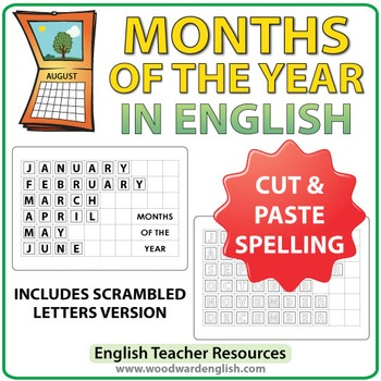 English Months Spelling - Cut and Paste Activity