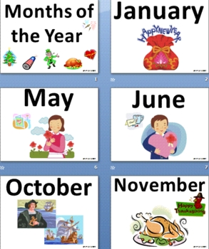 English Months of the Year Classroom Signs & Presentation