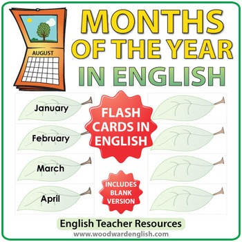 English Months of the Year - ESL Flash Cards