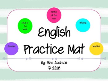 English Morning Meeting Mat (Days of the Week, Months of the Year, etc.)